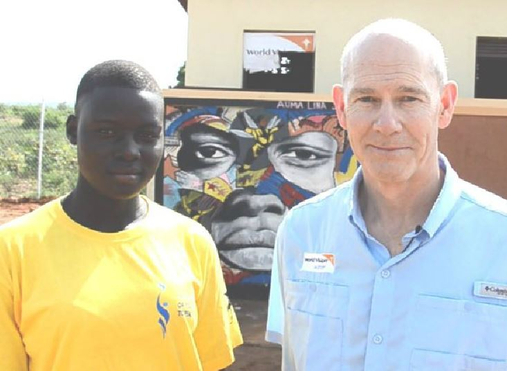 World Vision  CEO with South Sudanese refugees